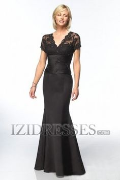 This is the one...but what color will compliment turquoisy blue?  Navy maybe?  Trumpet/mermaid V-neck Satin Mother Of The Bride Dress - IZIDRESS.com