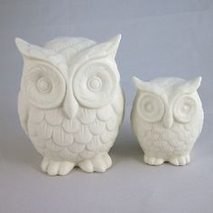 White Ceramic Owl Ornaments 2 Sizes: Small or Large