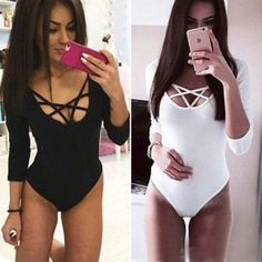 Womens front #plunge playsuit lace long #sleeve #leotard bodysuit sleepwear ones, View more on the LINK: http://www.zeppy.io/product/gb/2/231929668780/ this with jeans would be so adorable...