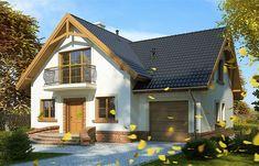 Projekt domu z poddaszem Juliusz Mały o pow. 112,8 m2 z garażem 1-st., z dachem dwuspadowym, z tarasem, z wykuszem, sprawdź! Malm, Home Fashion, Cottage, House Styles, Modern, Home Decor, House Plans, Houses, Projects