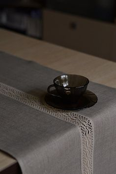 Wedding Lacey Natural Organic Linen Gray Table Runner, Eco Firendly Tabletop 16 x 97 inches