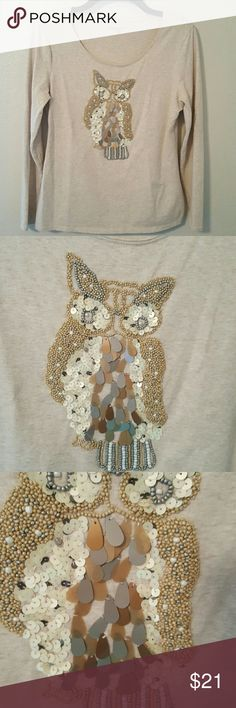 """Coldwater Creek Owl Embellished T-shirt Size XS Embellished owl long sleeve t-shirt. Photo 3 shows where some of the flashy stuff has come off. What is still stitched on the tee is firmly intact as far as I can tell. Priced accordingly. Size XS 4-6. Measures 16""""across at chest lying flat. Measures 23""""from shoulder to hem. Sleeves measure 21""""from shoulder to wrist. Coldwater Creek  Tops Tees - Long Sleeve"""