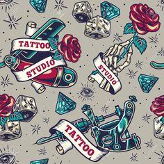 Vintage tattoo seamless pattern with dice diamond ribbon around tattoo machine straight razor and skeleton hand holding rose vector illustration , Hand Holding Rose, Tattoo Machine, Tattoo Shop, Art Logo, Vector Free, Free Pattern, Logo Design, Tattoos, Ribbon