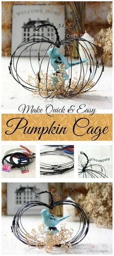 Pumpkin Cage - Quick Easy Fall Craft | 17 Cool Pumpkin Decorating Ideas