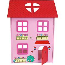 This is an actual wood dollhouse, but the paint chips off. Came also all with wood furniture and 2 wooden HK dolls.  Wish it had more....trying to find alternatives