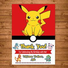 Pokemon Pikachu Thank You Card - Pokemon Pikachu Thank You -- Pokemon Pikachu Birthday - Pokemon Pikachu Party Favors
