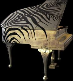 Zebra piano, designed by British rock and roll furniture designers Jimmie Martin