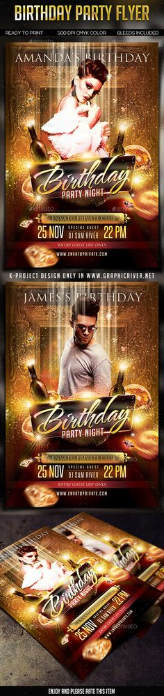 20 Beautifully Designed PSD Birthday Party Flyer Templates - birthday flyer template