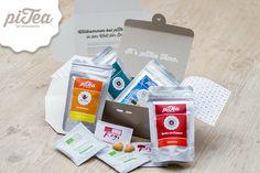 """Unsere Februar 2015-Box; randvoll gefüllt mit der Marke des Monats Compagnie Coloniale, der piTea Edition """"Energiebündel"""" und dem leckeren Office-Snack King Louie."""