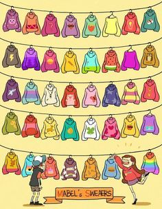 Gravity Falls Most of Mabel's sweaters. This guy did a great job, nut he is missing at least two. Dipper looks so overwhelmed😂👏🏼 Mabel Sweater, Mabel Pines Sweaters, Monster Falls, Fall Inspiration, Desenhos Gravity Falls, Gavity Falls, Dipper And Mabel, Dipper Pines, Mable Pines