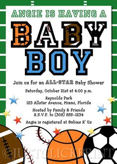 Aaron wants a Sports theme baby shower- looking at some possible ideas..
