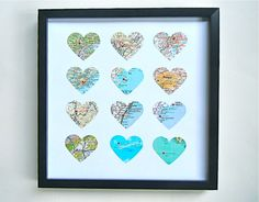 Hey, I found this really awesome Etsy listing at https://www.etsy.com/uk/listing/204629046/framed-map-hearts-12-atlas-hearts