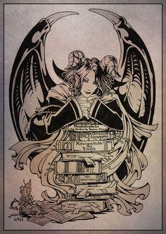 "Bibliophile  by =Candra  Mephistopheles from the game ""Animamundi: Dark Alchemist""."