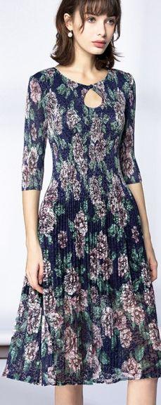 Beach Navy Lace Print Half Sleeve A-Line Midi Dress