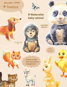 8 watercolor baby-animals by WatercolorDreams on @creativemarket