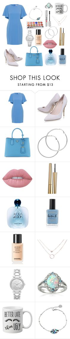 """work light blue look"" by boom-with-red-eyes ❤ liked on Polyvore featuring Shoshanna, Ralph & Russo, Prada, Melissa Odabash, Lime Crime, Estée Lauder, Giorgio Armani, Lauren B. Beauty, Chanel and MICHAEL Michael Kors"