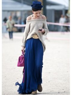 slouchy knit top and maxi + cute | http://beautifullhandbagstyles.blogspot.com