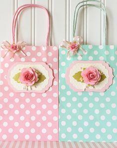 Handmade Paper pink Rose Flower Mothersday Polkadot Small Gift