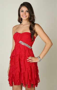 Deb Shops strapless, ruched sweetheart body with stone trim and tendril skirt  $72.90
