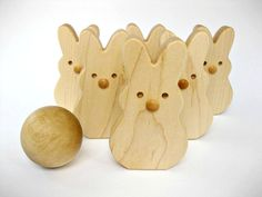 Wooden Toy Bunny Bowling Set of 6 Skittles Eco by GreenBeanToys, $29.00