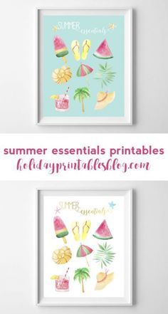 Free printables for summer! Watercolor summer essentials art perfect for your wall decor or as a gift!