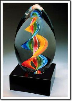 Art glass award, bright colors, marble base.