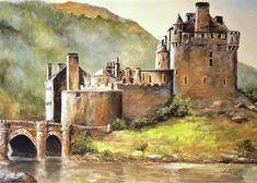 Eilean Donan Castle Art Print by Alan Lakin Artist Painting, Landscape Paintings, Oil Painting On Canvas, Painting, Watercolor Architecture, Cottage Art, Castle Painting, Canvas Painting, Landscape Art