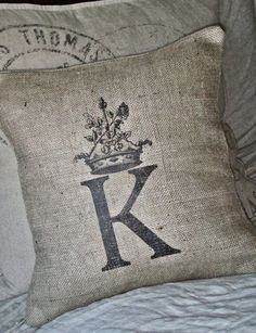 for living room? ~ Burlap Pillow Cover  Choose your Letter or Number by JolieMarche, $35.00