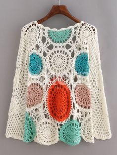 Store Multicolor Lengthy Sleeve Scoop Neck Crochet Sweater on-line. SheIn provides Multicolor Lengthy Sleeve Scoop Neck Crochet Sweater & extra to suit your modern wants. Poncho Crochet, Col Crochet, Crochet Jacket, Crochet Squares, Crochet Cardigan, Crochet Granny, Crochet Motif, Crochet Woman, Crochet Baby