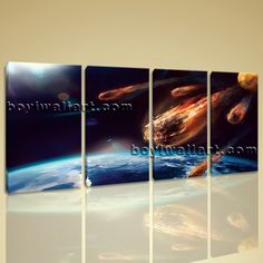 """Large Asteroid Hit Eart Other Photography Wall Art Printed On Canvas BedRoom, Large Asteroid Wall Art, Bedroom, Lonestar. Large Asteroid Hit Eart Other Photography Wall Art Printed On Canvas BedRoom Subject : Asteroid Style : Photography Panels : 4 Detail Size : 14""""x28""""x4 Overall Size : 59""""x28"""" = 150cm x 71cm Medium : Giclee Print On Canvas Condition : Brand New Frames : Gallery wrapped [FEATURES] Lightweight and easy to hang. High revolution giclee artwork/photograph. Edges are staple…"""