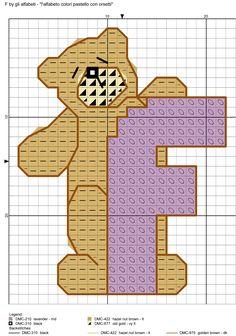 alfabeto colori pastello con orsetti F