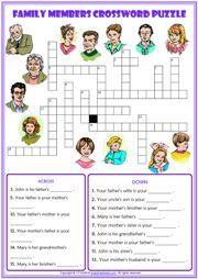 Family Members Crossword Puzzle ESL Exercise Worksheet Vocabulary Worksheets, Worksheets For Kids, Family Tree Worksheet, English Activities For Kids, Bible Quiz, Poetry Activities, English Exercises, Classroom Freebies, Crossword Puzzles