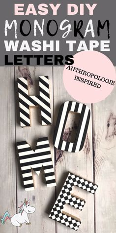 Cheap and Easy DIY Monogram Washi Tape Letters. A Brilliant Anthropologie Knockoff You Can Actually Do! These Monogram letters will be a great addition to your home decor or give them to someone you love as a great DIY Gift Idea! Diy Home Decor Easy, Diy Home Decor Projects, Decor Crafts, Easy Crafts, Decor Ideas, Decor Diy, Home Decor Furniture, Diy Décoration, Easy Diy