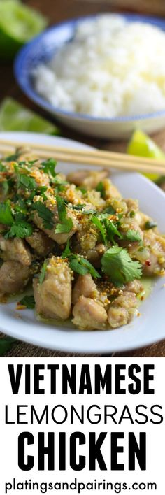 Vietnamese Chicken - Omit sugar or use stevia, red boat fish sauce, avocado oil (or olive or coconut) and brown rice
