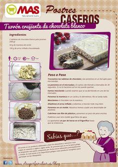 Receta para preparar turrón crujiente de chocolate blanco