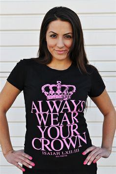 Always Wear Your Crown is a state of mind. The characteristics of a queen:Good moral, noble character, ethical, dignified and possesses a readiness to serve people first, self second.She has the ability to remain neutral with her focus to unite people. She has the ability to smile, inspire and comfort the people in good times and bad times. She never lowers herself to those who insult or attack her.She represents the King and the Kingdom faithfully. $17.99
