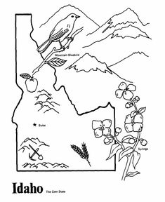 Idaho State outline Coloring Page