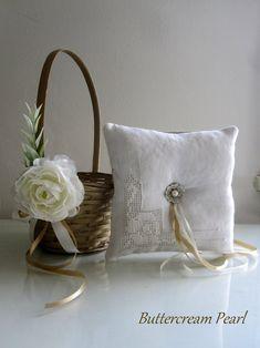 Your Color Wedding Flower Girl Basket And Ring Bearer Pillow Set