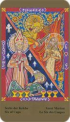 Six of Cups from the Kazanlar Tarot at TarotAdvice Tarot Reading, Tarot Decks, Tarot Cards, Art Gallery, Cups, Happy, Painting, Image, Tarot Card Decks
