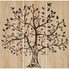 """Natural wood finish panels features an intaglio tree silhouette. Wall Sculpture / Wood 12""""W x 36""""H x 1""""D Weight: 9 pounds Each piece is custom made. Ready to ship in 15 - 22 days."""