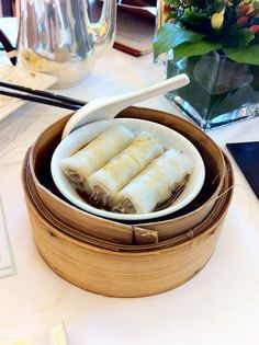 Orange infused rice paper wrapped beef rolls at Maxim's City Hall in Hong Kong.