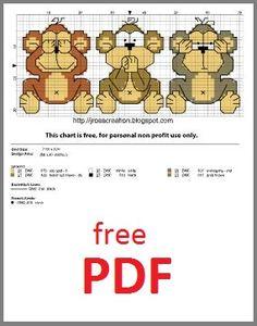 three monkeys free cross stitch pattern ,