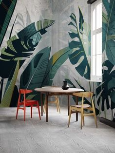 45 Trendy Wall Covering Ideas beautiful wall accent neutral blue based tones large open windows for natural light Interior Walls, Interior And Exterior, Interior Design, Design Interiors, Mural Art, Wall Murals, Wall Art, Wall Design, House Design