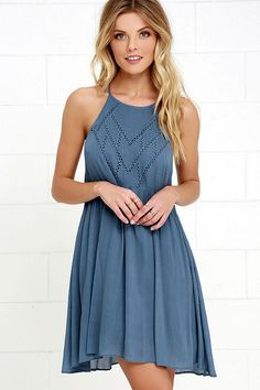 Leaf in the Wind Blue Embroidered Dress at Lulus.com!