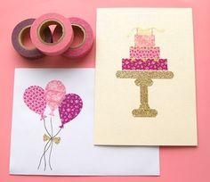 和紙でできたマスキングテープで作ったケーキとバルーンの絵柄がとってもキュートなカードです。バースデーや結婚のお祝いなどにぴったりです。ゴールドのケーキスタンドとリボンもラメ付きのテープです。