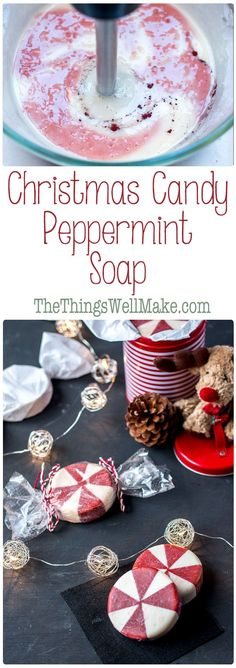 This fun holiday peppermint soap looks like peppermint candy and it's perfect for Christmas time, but can also be enjoyed year round. via @thethingswellmake