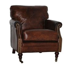Harrow Leather Club Chair - Antique Brown