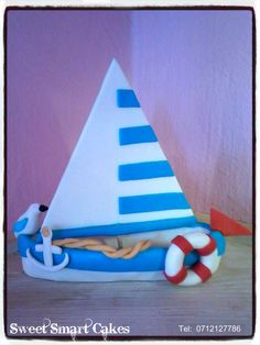 Large sugar sail boat @ R120 For more info & orders, email SweetArtBfn@gmail.com or call 0712127786, WhatsApp 0646446495 Fondant Figures, Edible Cake, Cupcake Toppers, Icing, Cake Decorating, Boat, Sugar, Cakes, Christmas Ornaments