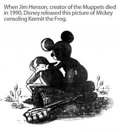 When the creator of The Muppets, Jim Henson, died in 1990 Disney released a picture of Mickey consoling Kermit the Frog Walt Disney, Disney Love, Disney Stuff, Disney Magic, Sweet Stories, Cute Stories, Disney And Dreamworks, Disney Pixar, Disney Characters