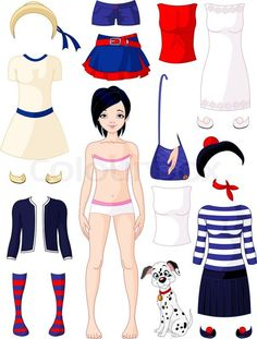 Stock vector of 'Paper doll with clothing'